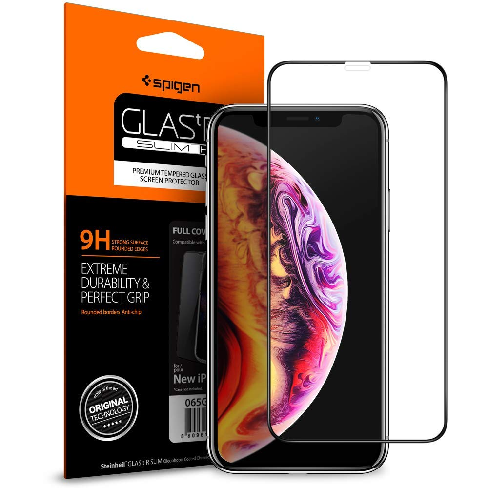 Spigen iPhone XS / X Glass Screen Protector Glas.tR Slim Full Cover Black (1Pack) 06GL24988