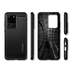 Spigen Galaxy S20 Ultra Case Rugged Armor Matte Black ACS00711