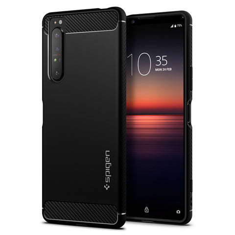 Sony Xperia 1 II Case Rugged Armor Matte Black (Strap Hole) ACS01149
