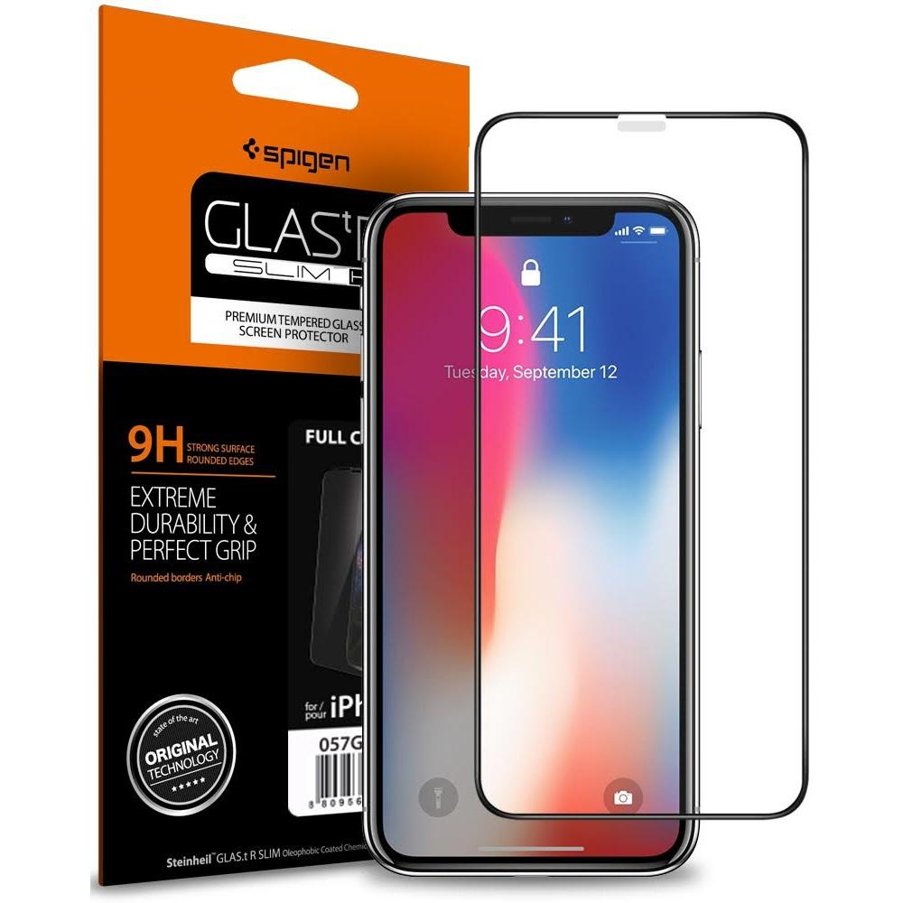 Spigen iPhone XS Max Screen Protector Glas.tR Slim Tempered Glass Full Cover Black 065GL25232
