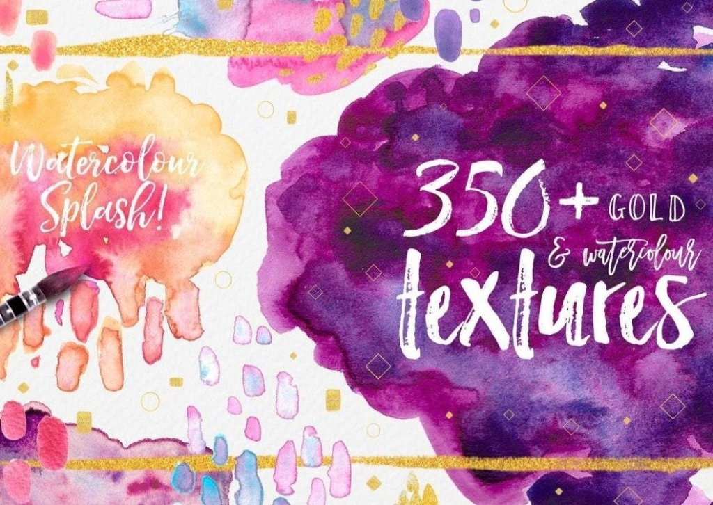 350 Watercolor Transparent Textures Illustrator Photoshop Aquarelle Design Invitation Cards PNG EPS