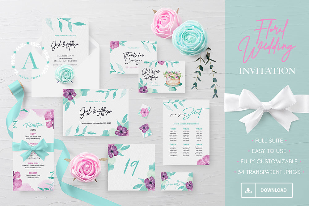 Printable Purple and Teal Floral Wedding Invitation Set Suite PSD Template Digital Download .PSD wedding stationery wedding suite wedding set wedding templete set wedding psd template fully editable fully customizable floral template flower template floral watercolor wedding template