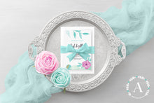 Load image into Gallery viewer, Printable Purple and Teal Floral Wedding Invitation Set Suite PSD Template Digital Download .PSD wedding stationery wedding suite wedding set wedding templete set wedding psd template fully editable fully customizable floral template flower template floral watercolor wedding template