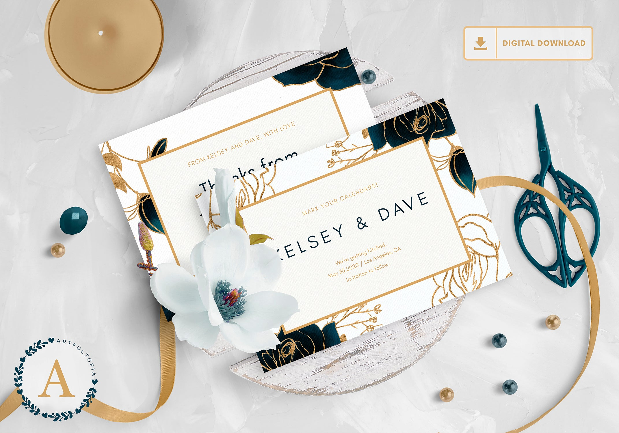 Printable Flowers & Gold Wedding Invitation Set Template Digital Download .PSD wedding stationery wedding suite wedding set wedding templete set wedding psd template fully editable fully customizable floral template flower template floral watercolor wedding template