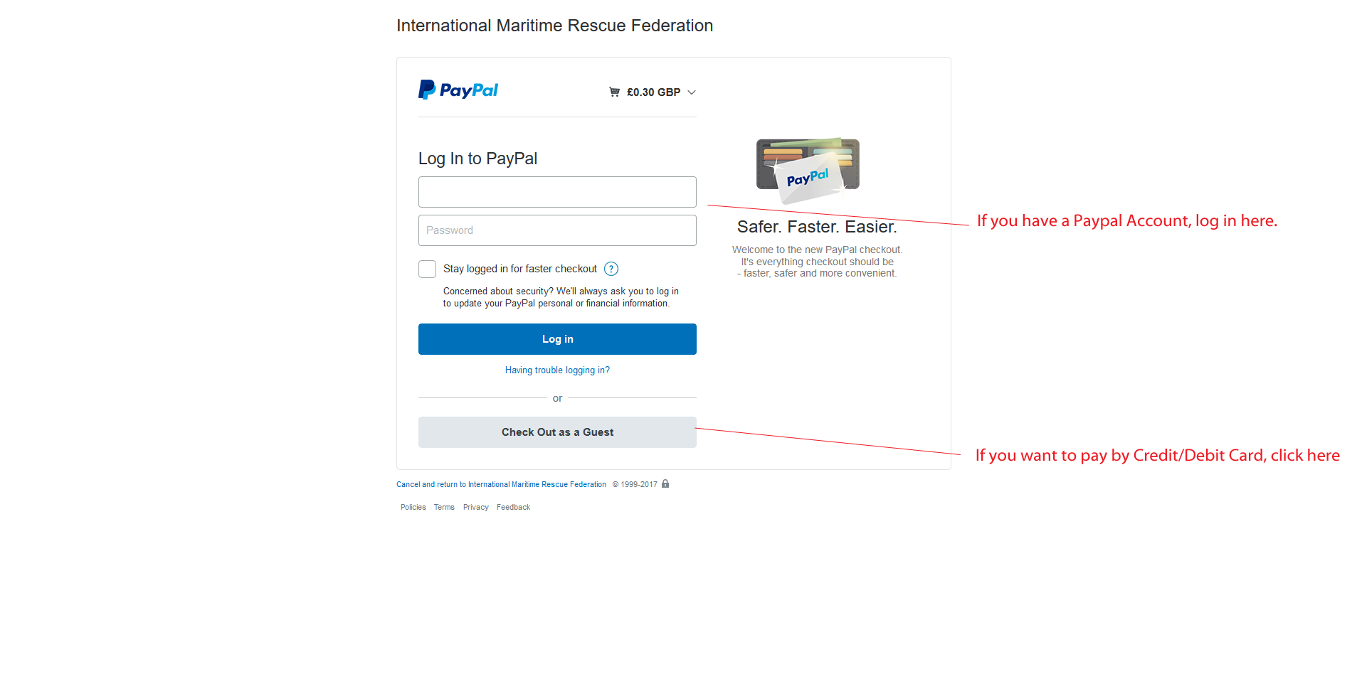 PayPal You can pay by Credit Card