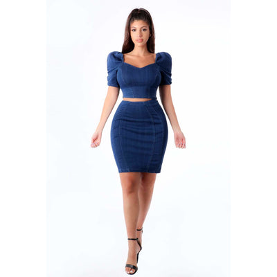 Puffy Denim Top and Skirt - Nothing To Wear LLC