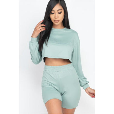 long sleeve crop short set - Nothing To Wear LLC
