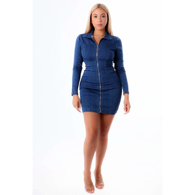 Zipped Up Denim Dress - Nothing To Wear LLC