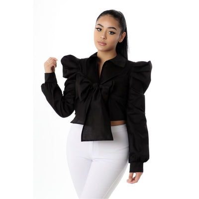 Ruffle Sleeve Bow Shirt - Nothing To Wear LLC