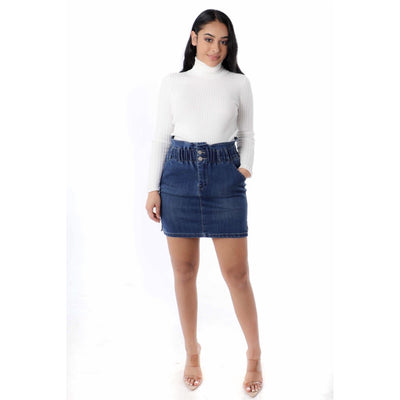 elastic denim skirt - Nothing To Wear LLC