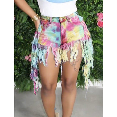 Denim Tie-Dye Shorts with Fringes - Nothing To Wear LLC