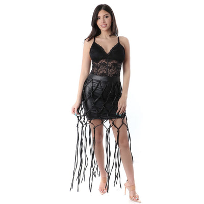 LEATHER FRINGE SKIRT - Nothing To Wear LLC