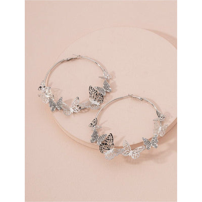 Medium Butterfly Rhinestone hoops - Nothing To Wear LLC