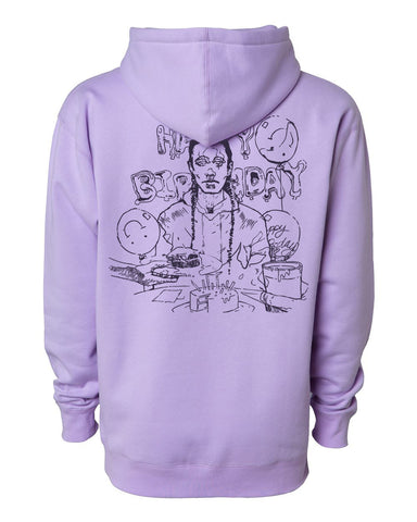 "Lavender hoodie embellished with tonal (purple) screen print ""Happy Birthday"" album cover by Roberto"