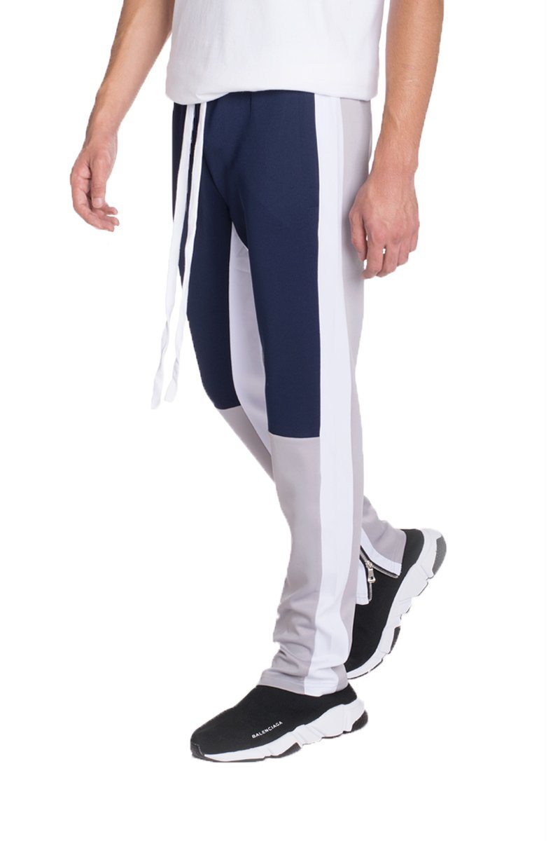 COLOR BLOCK TRACK PANTS- NAVY/ GREY | gymgiantgear