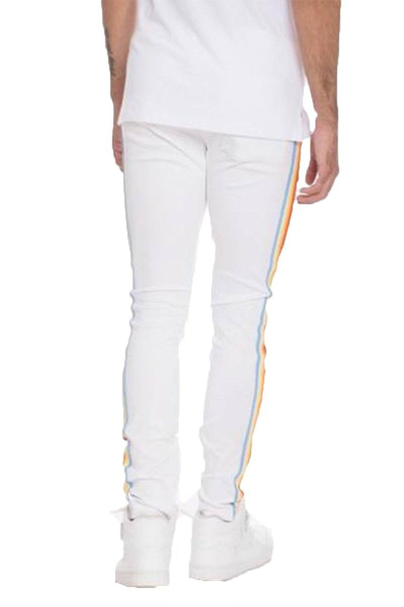 FULL RAINBOW TAPED TRACK PANTS-WHITE | gymgiantgear