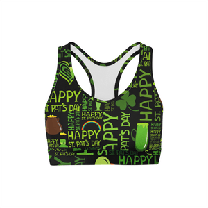 Happy St Patricks Day Sports Bra | gymgiantgear