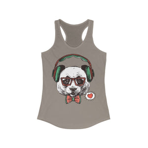 Mr Panda with Headphone Racerback Tank Top | gymgiantgear