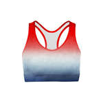 Load image into Gallery viewer, Patriotic Triangles Sports Bra | gymgiantgear