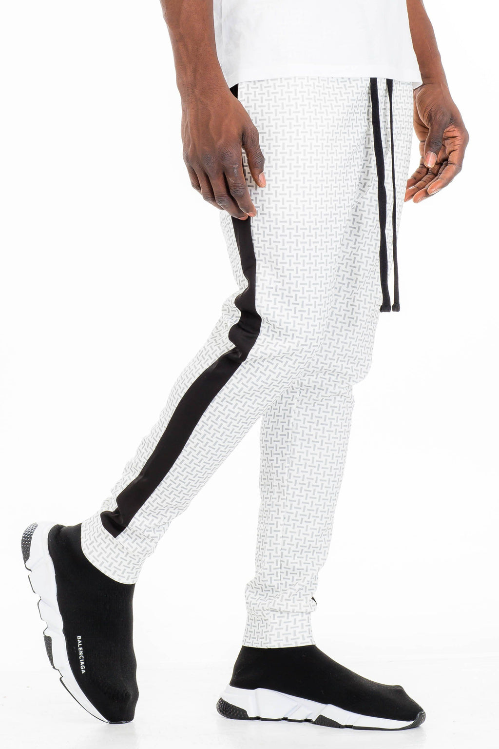 PATTERNED TRACK PANTS- WHITE | gymgiantgear