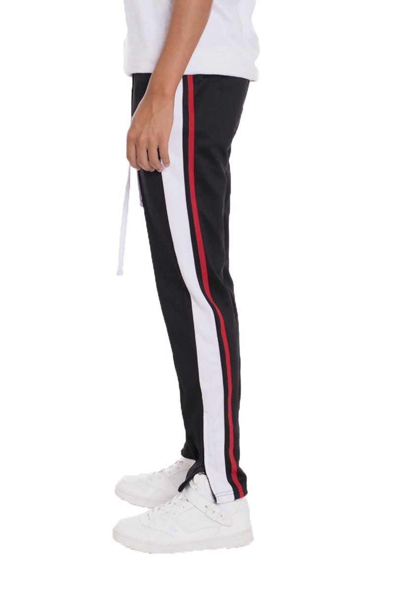TRICOT STRIPED TRACK PANTS- BLACK | gymgiantgear