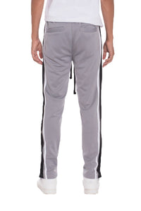 TRICOT STRIPED TRACK PANTS- GREY | gymgiantgear