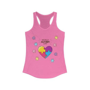 World Autism Day Puzza Heart Racerback Tank Top | gymgiantgear