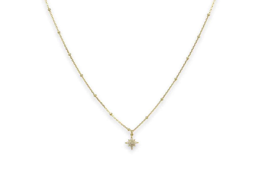 Burgundy Gold Star Necklace