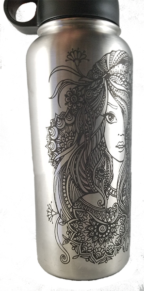 Mandala Girl Water Bottle 32oz w/ Straw