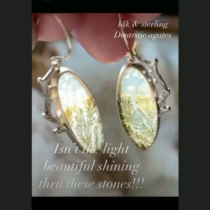 Dendritic Agate Branch Earrings
