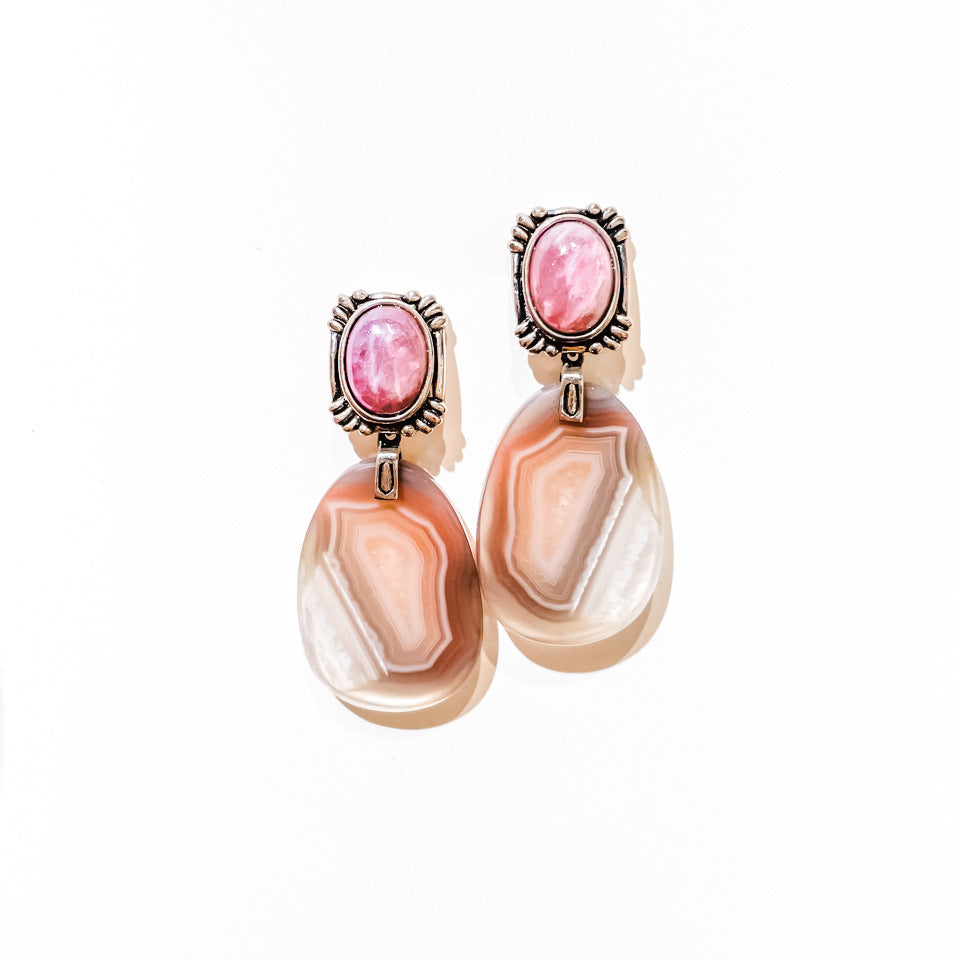 Agate and Pink Sapphire Earrings