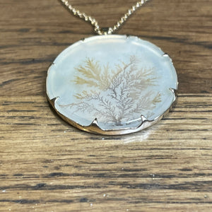 Dendritic agate necklace 14k gold -sold