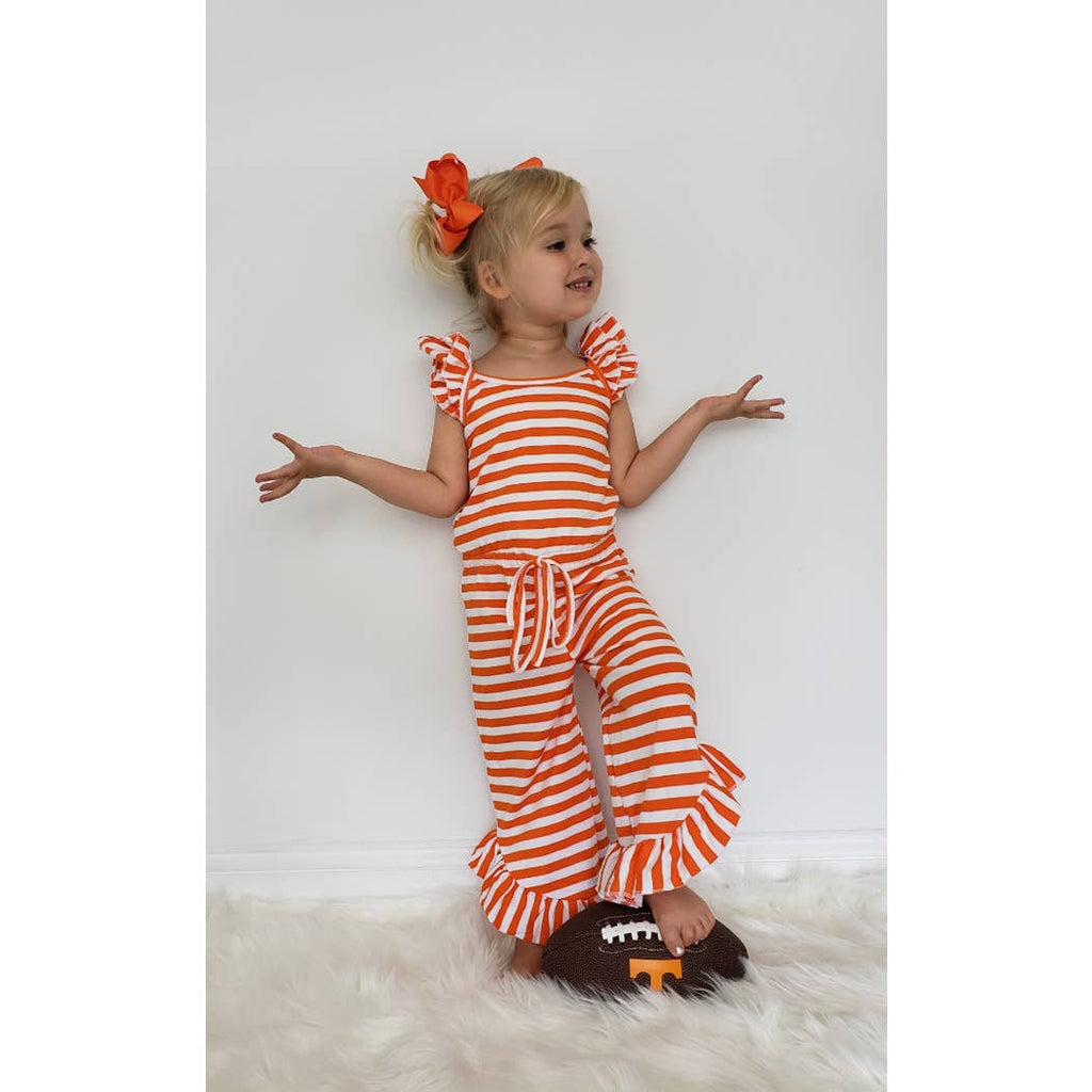 Harlow Jayne's Go Team Orange Girls Romper by Clover Cottage