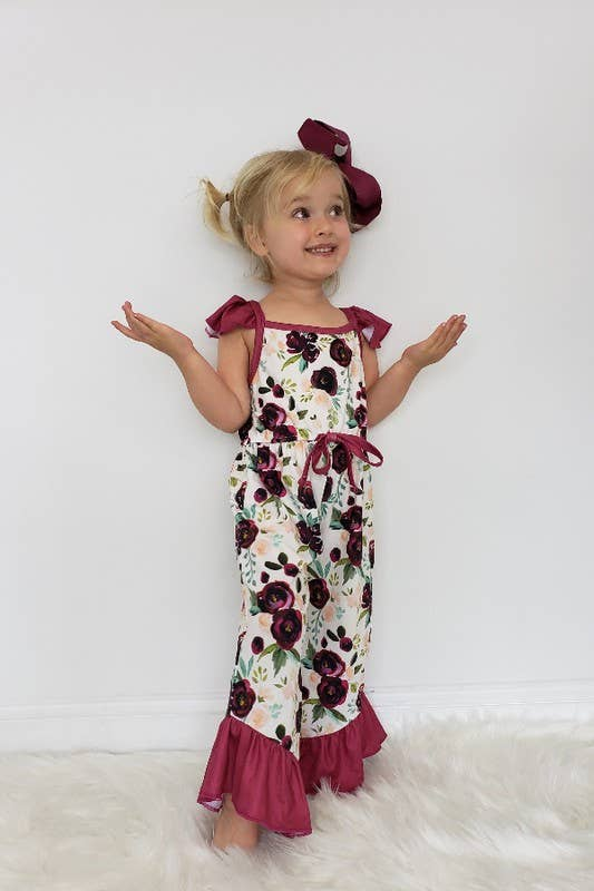 Olive's Willow Wine Blooms Girls Romper by Clover Cottage