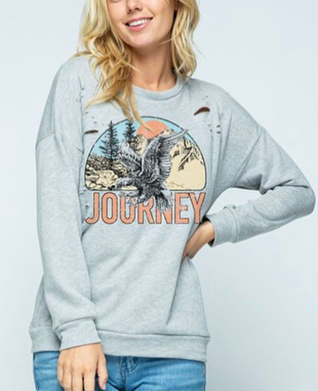 Women's Graphic Journey Distressed Sweater