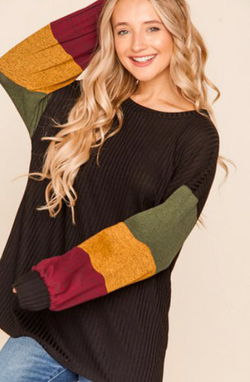 Ribbed Two Toned Knit Color Block Long Sleeve