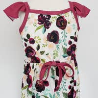 Load image into Gallery viewer, Olive's Willow Wine Blooms Girls Romper by Clover Cottage