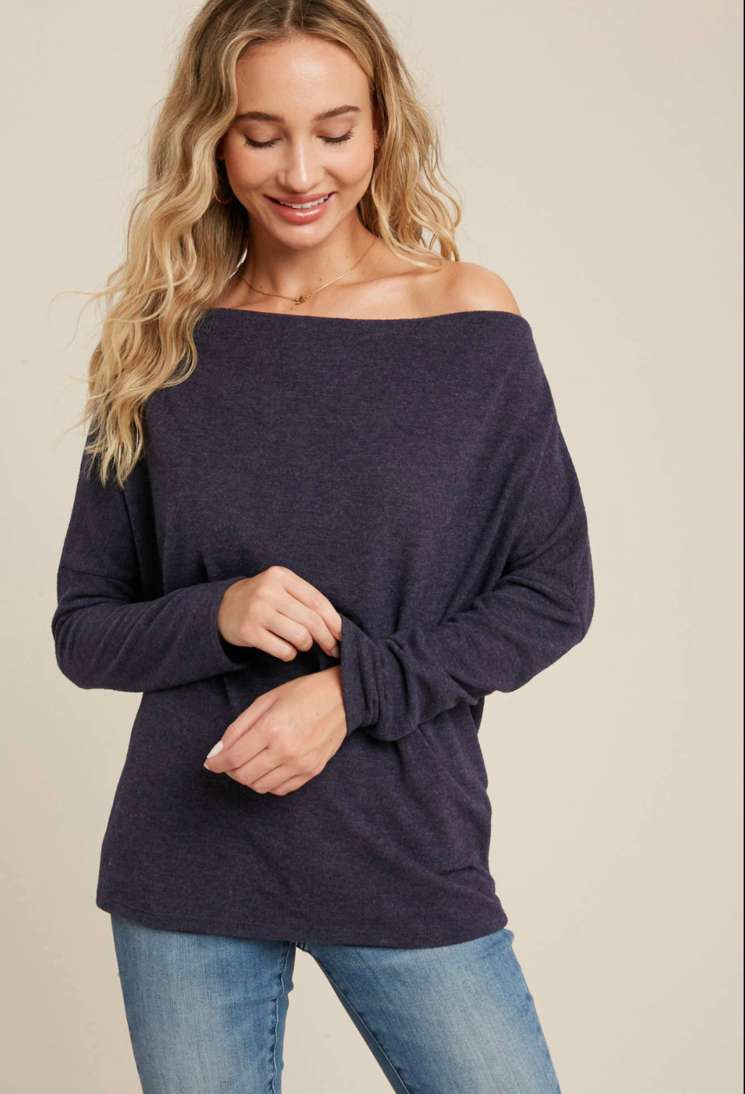 Navy Brushed Hacci Off The Shoulder Top