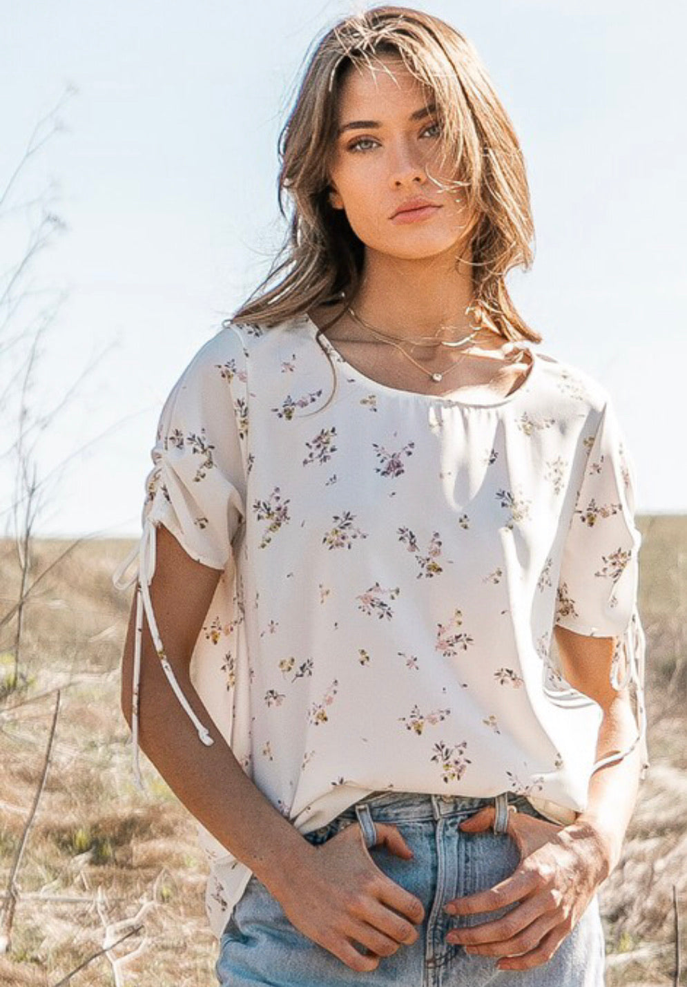 Floral Printed Top With Ruched Sleeves