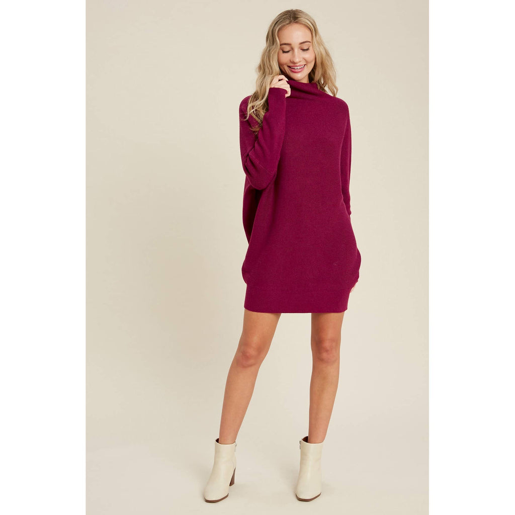 Off The Shoulder Slouch Neck Dolman Tunic Sweater Dress