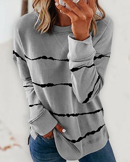 Tie Dye Wave Long Sleeve Casual Sweatshirt