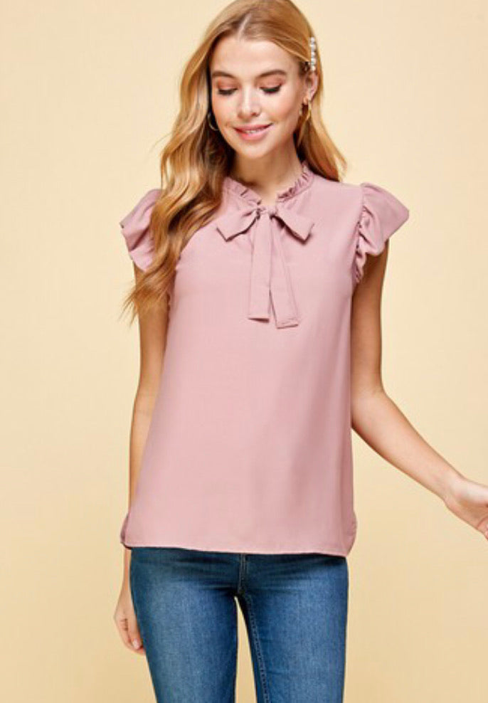 Solid Neck Tie Top With Ruffled Sleeves