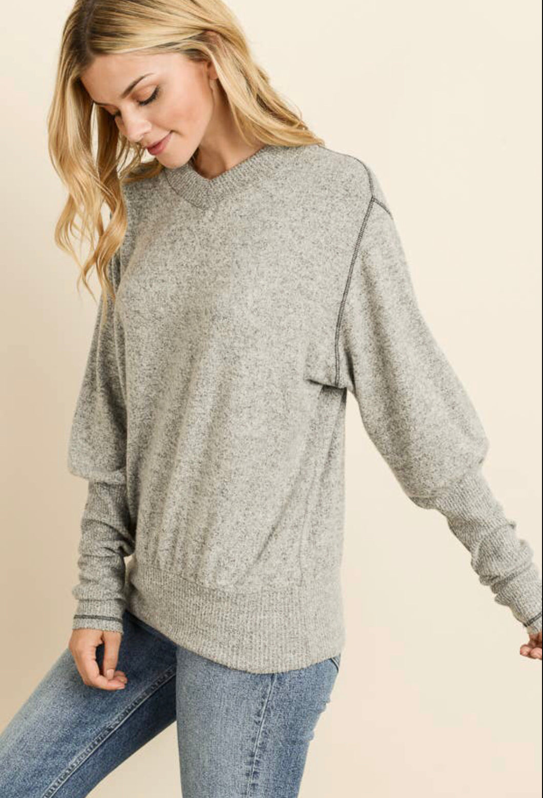 (Buy1 Get1) Heather Grey Sweater by Maple Sage