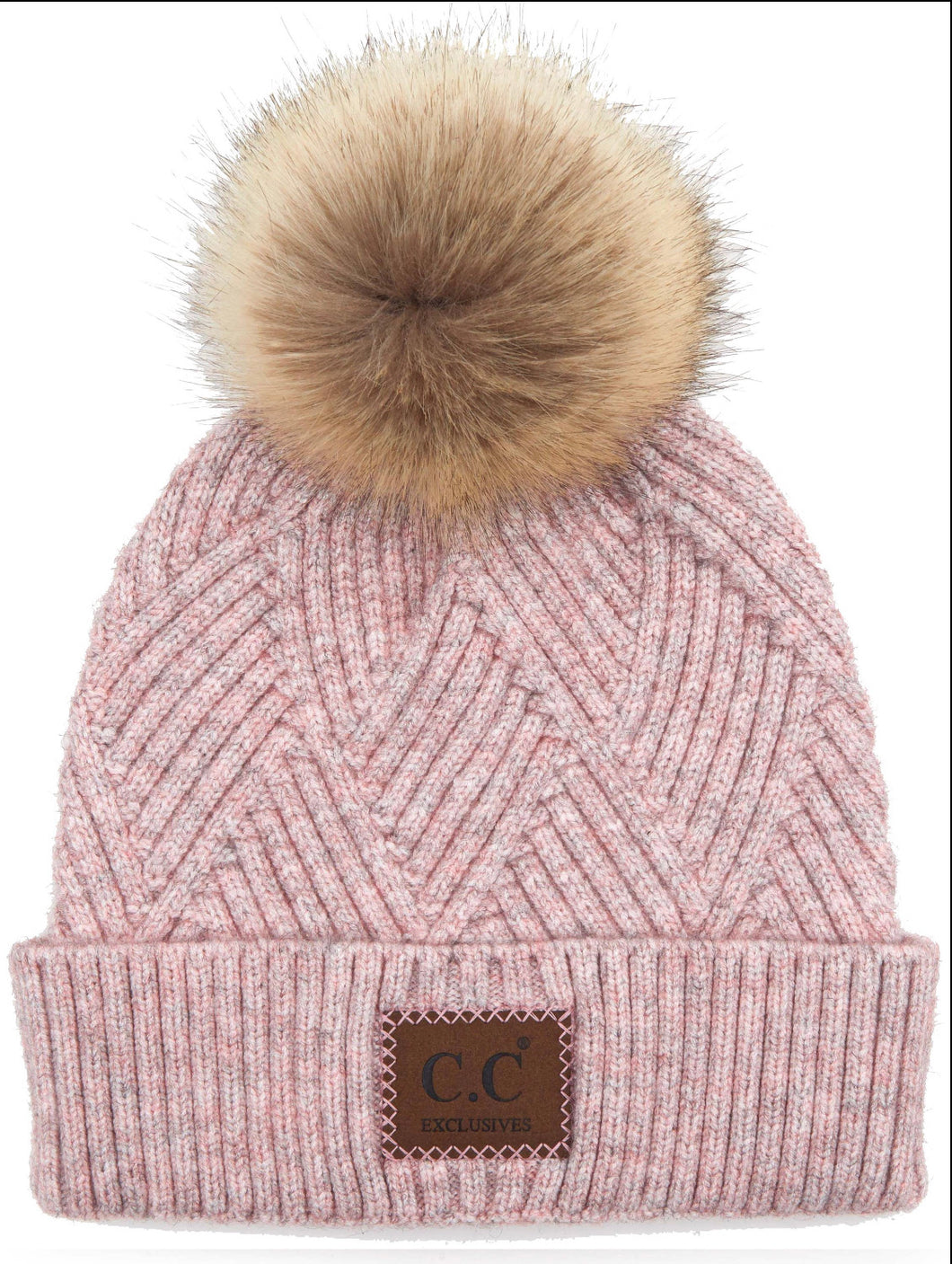 CC Rose Mix Diagonal Stripe Beanie with Pom