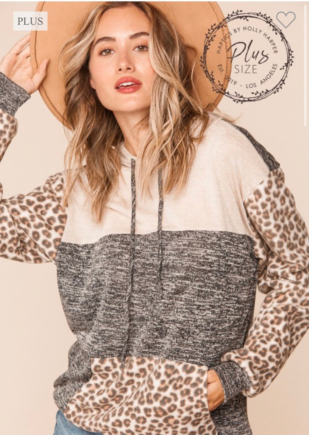 Plus-Size Two Tone Hacci Leopard Color Block Hoodie