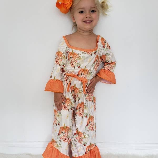 Whimsical Pumpkin Girls Romper