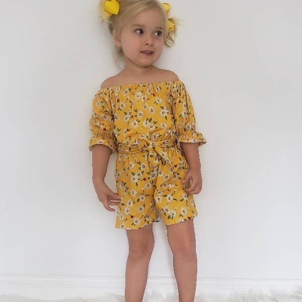 Yellow Daisy Fields Girls Romper