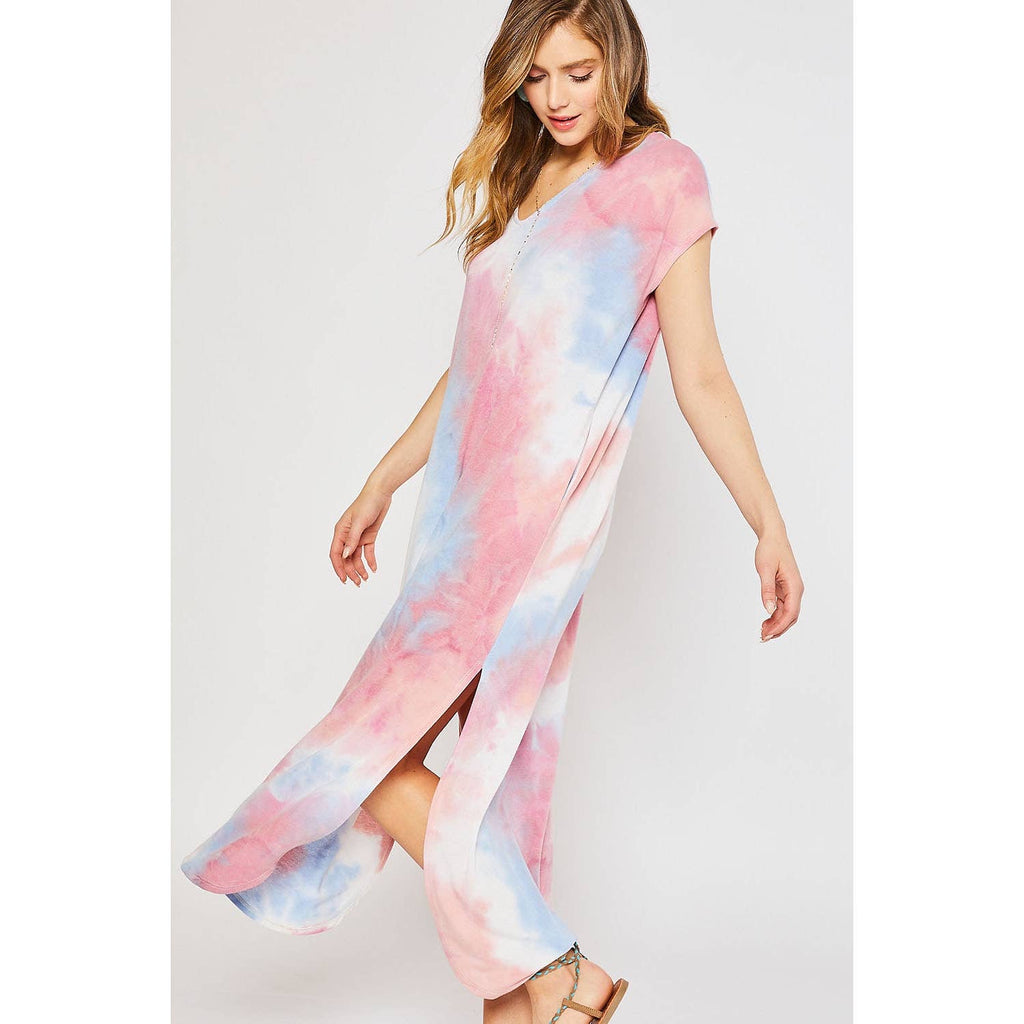 Tie Dye Maxi Jersey Dress With Pockets