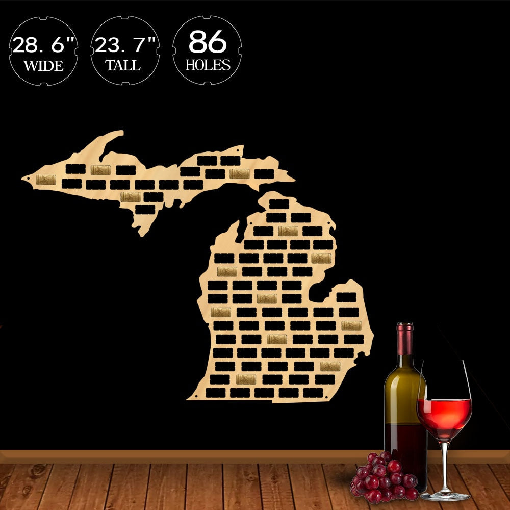 Wine Cork Map of Michigan