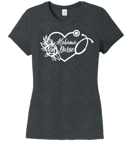 Alabama Nurse with Heart Stethoscope and Rose For Women T-shirts Made 4 Healers Black Frost Small